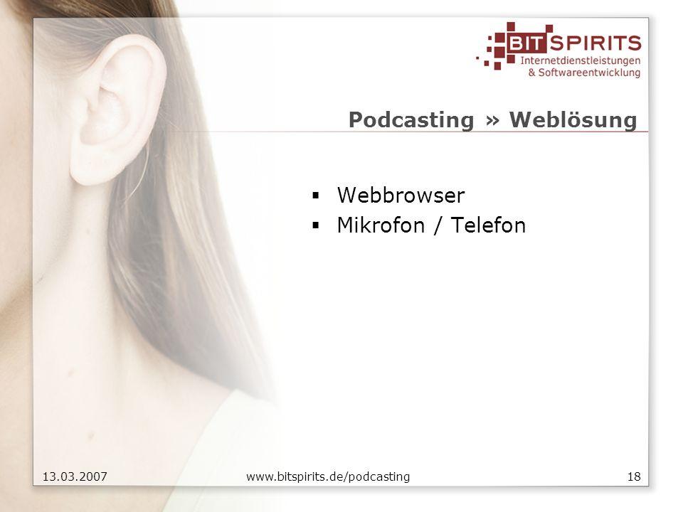 1813.03.2007 www.bitspirits.de/podcasting Podcasting » Weblösung Webbrowser Mikrofon / Telefon