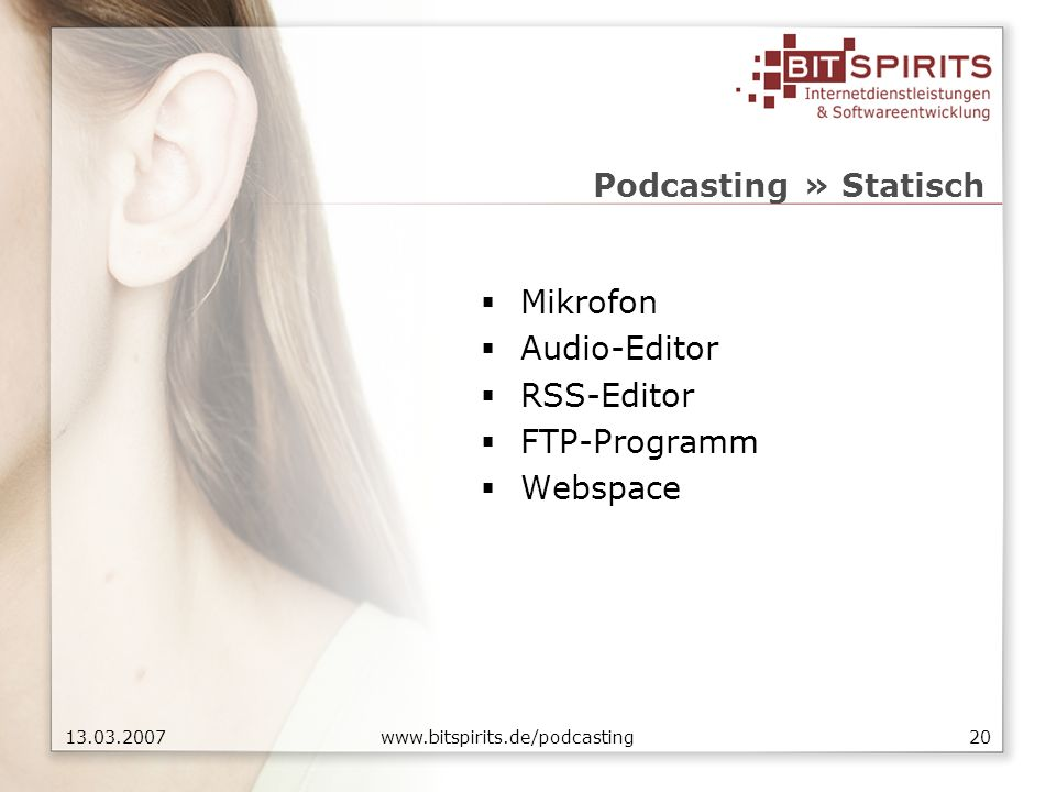 2013.03.2007 www.bitspirits.de/podcasting Podcasting » Statisch Mikrofon Audio-Editor RSS-Editor FTP-Programm Webspace