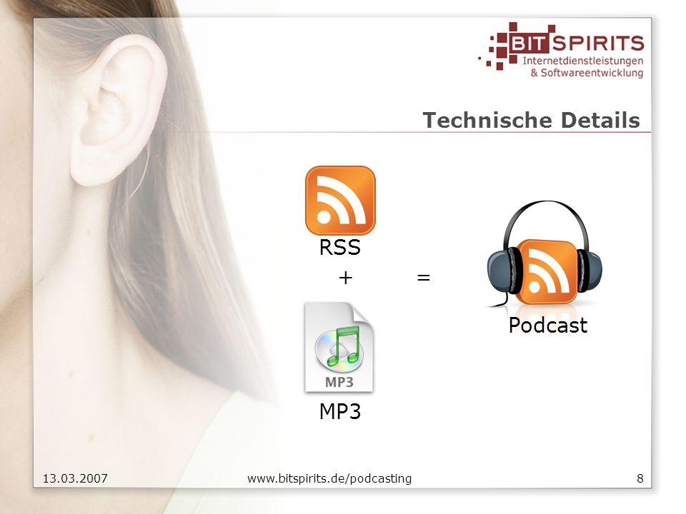 1913.03.2007 www.bitspirits.de/podcasting Podcasting » Weblösung Anbieter wählen Registrieren Veröffentlichen