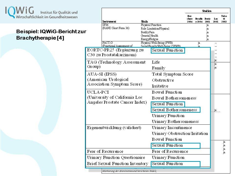 6 Beispiel: IQWiG-Bericht zur Brachytherapie [4]