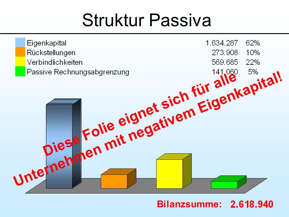 Struktur Passiva Bilanzsumme: Diese Folie eignet sich für alle Unternehmen mit negativem Eigenkapital!