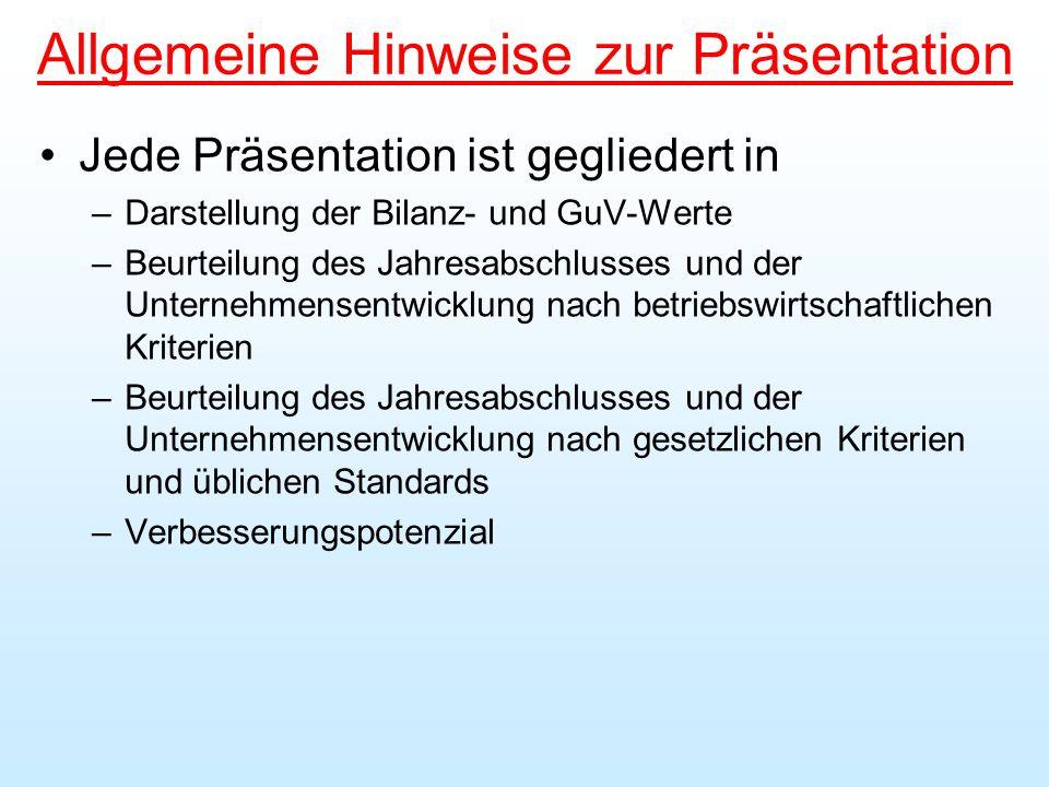 Allgemeine Hinweise zur Präsentation Jede Präsentation ist gegliedert in –Darstellung der Bilanz- und GuV-Werte –Beurteilung des Jahresabschlusses und