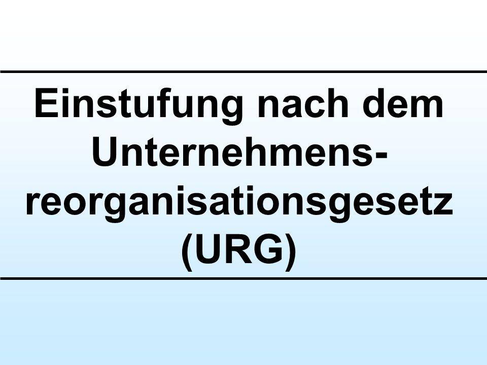Einstufung nach dem Unternehmens- reorganisationsgesetz (URG)