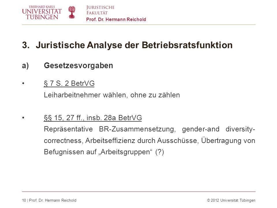 10 | Prof. Dr. Hermann Reichold© 2012 Universität Tübingen Prof. Dr. Hermann Reichold 3.Juristische Analyse der Betriebsratsfunktion a)Gesetzesvorgabe
