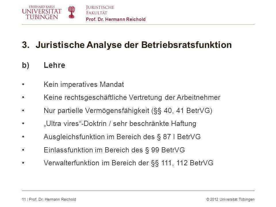 11 | Prof. Dr. Hermann Reichold© 2012 Universität Tübingen Prof. Dr. Hermann Reichold 3.Juristische Analyse der Betriebsratsfunktion b)Lehre Kein impe