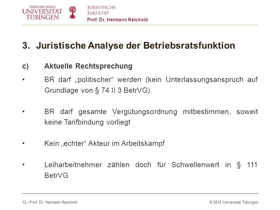 12 | Prof. Dr. Hermann Reichold© 2012 Universität Tübingen Prof. Dr. Hermann Reichold 3.Juristische Analyse der Betriebsratsfunktion c)Aktuelle Rechts