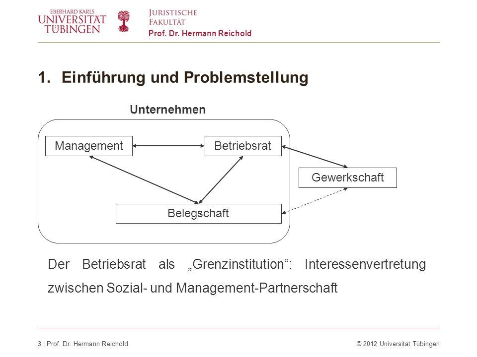 3 | Prof. Dr. Hermann Reichold© 2012 Universität Tübingen Prof. Dr. Hermann Reichold 1.Einführung und Problemstellung Der Betriebsrat als Grenzinstitu