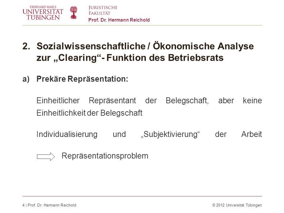 4 | Prof. Dr. Hermann Reichold© 2012 Universität Tübingen Prof. Dr. Hermann Reichold 2.Sozialwissenschaftliche / Ökonomische Analyse zur Clearing- Fun