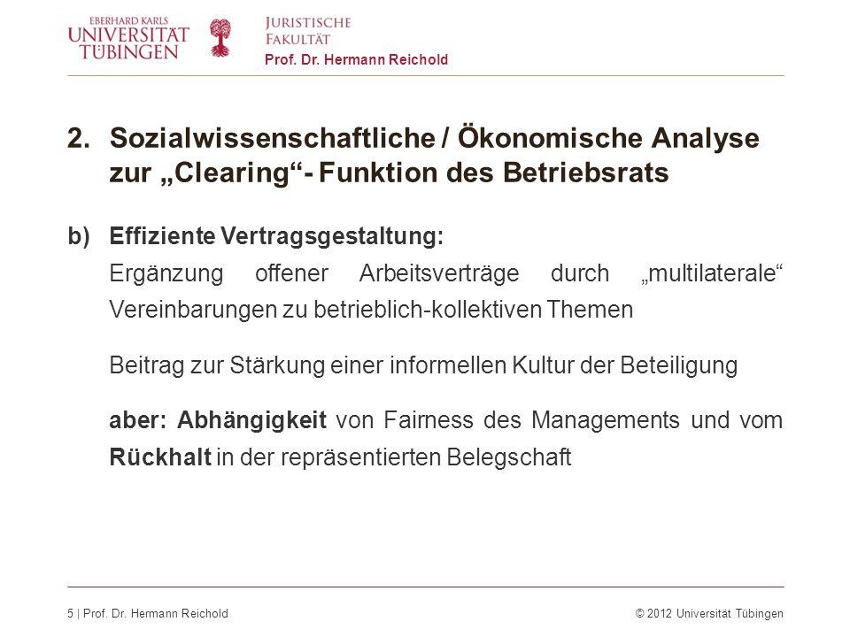 5 | Prof. Dr. Hermann Reichold© 2012 Universität Tübingen Prof. Dr. Hermann Reichold 2.Sozialwissenschaftliche / Ökonomische Analyse zur Clearing- Fun