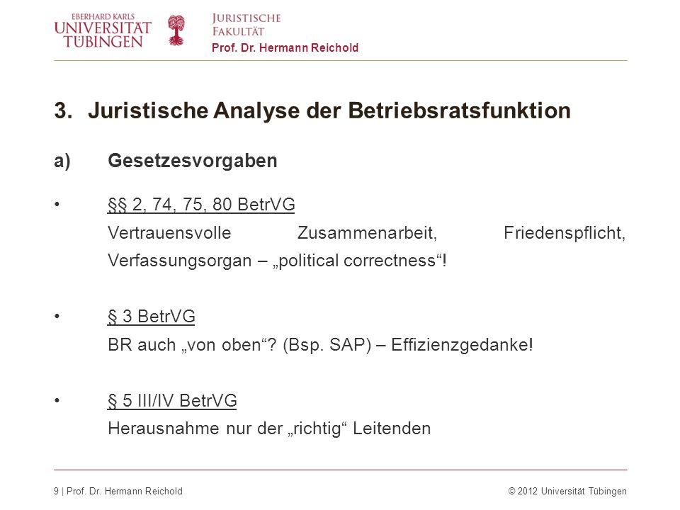9 | Prof. Dr. Hermann Reichold© 2012 Universität Tübingen Prof. Dr. Hermann Reichold 3.Juristische Analyse der Betriebsratsfunktion a)Gesetzesvorgaben