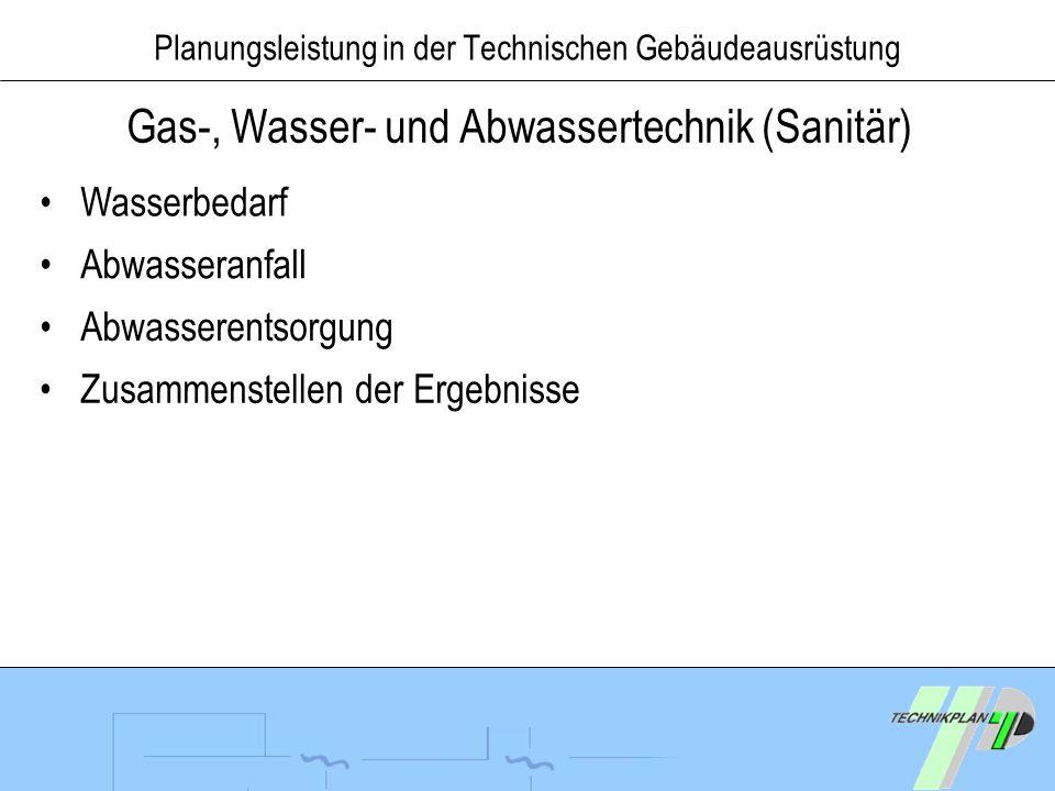 Planungsleistung in der Technischen Gebäudeausrüstung Gas-, Wasser- und Abwassertechnik (Sanitär) Wasserbedarf Abwasseranfall Abwasserentsorgung Zusam