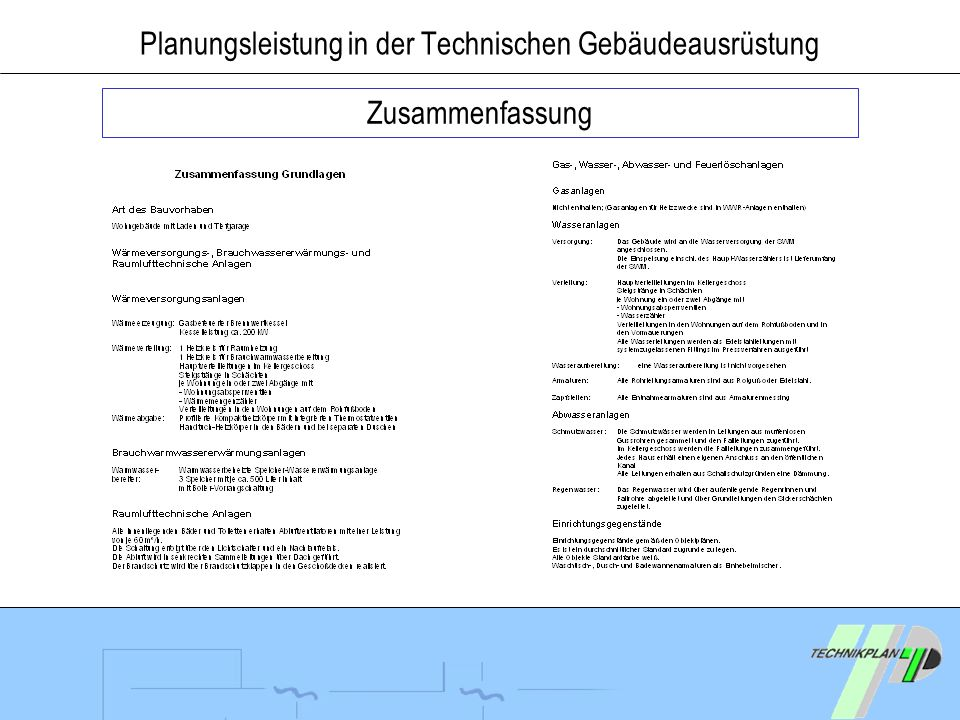 Planungsleistung in der Technischen Gebäudeausrüstung Zusammenfassung