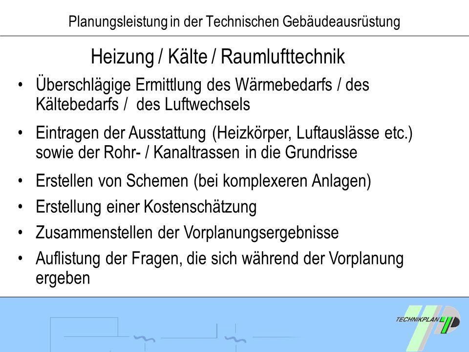 Planungsleistung in der Technischen Gebäudeausrüstung Heizung / Kälte / Raumlufttechnik Überschlägige Ermittlung des Wärmebedarfs / des Kältebedarfs /