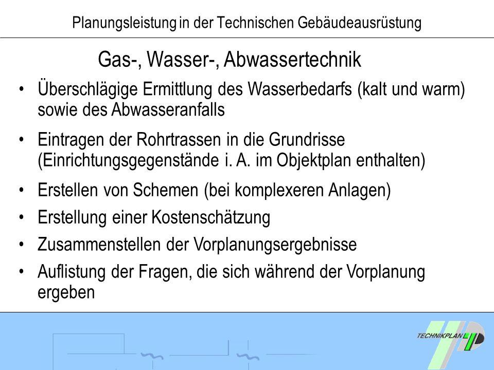 Planungsleistung in der Technischen Gebäudeausrüstung Gas-, Wasser-, Abwassertechnik Überschlägige Ermittlung des Wasserbedarfs (kalt und warm) sowie