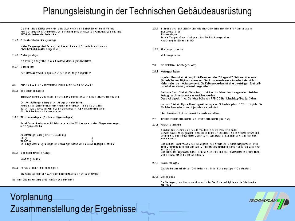 Planungsleistung in der Technischen Gebäudeausrüstung Vorplanung Zusammenstellung der Ergebnisse