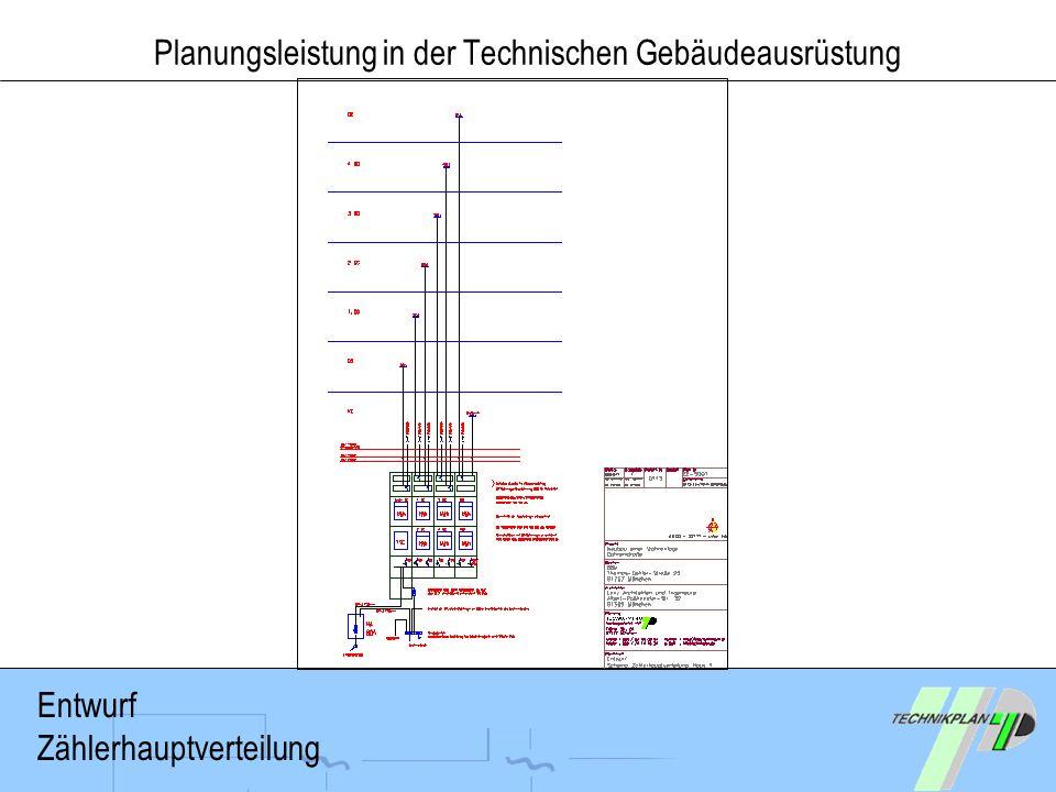 Planungsleistung in der Technischen Gebäudeausrüstung Entwurf Zählerhauptverteilung