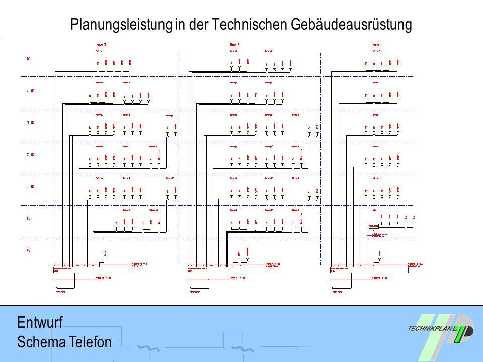 Planungsleistung in der Technischen Gebäudeausrüstung Entwurf Schema Telefon