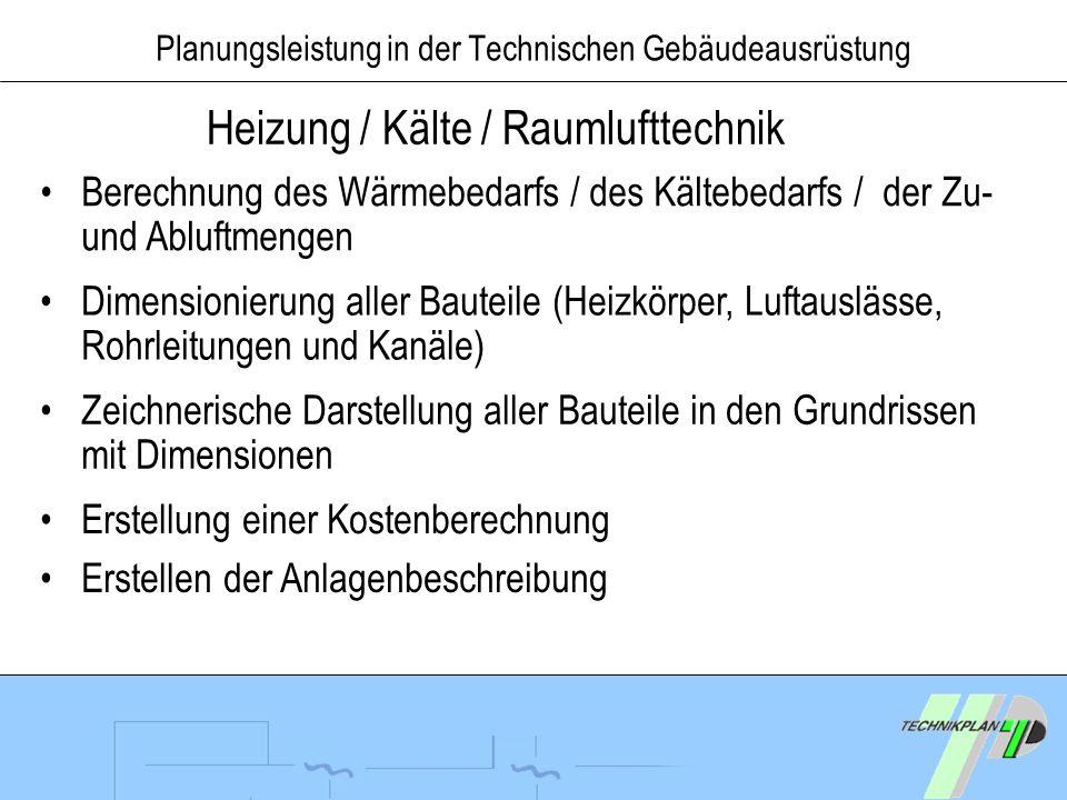Planungsleistung in der Technischen Gebäudeausrüstung Heizung / Kälte / Raumlufttechnik Berechnung des Wärmebedarfs / des Kältebedarfs / der Zu- und A