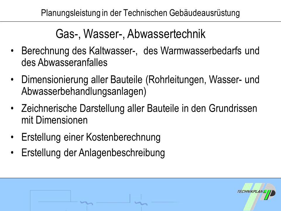 Planungsleistung in der Technischen Gebäudeausrüstung Gas-, Wasser-, Abwassertechnik Berechnung des Kaltwasser-, des Warmwasserbedarfs und des Abwasse