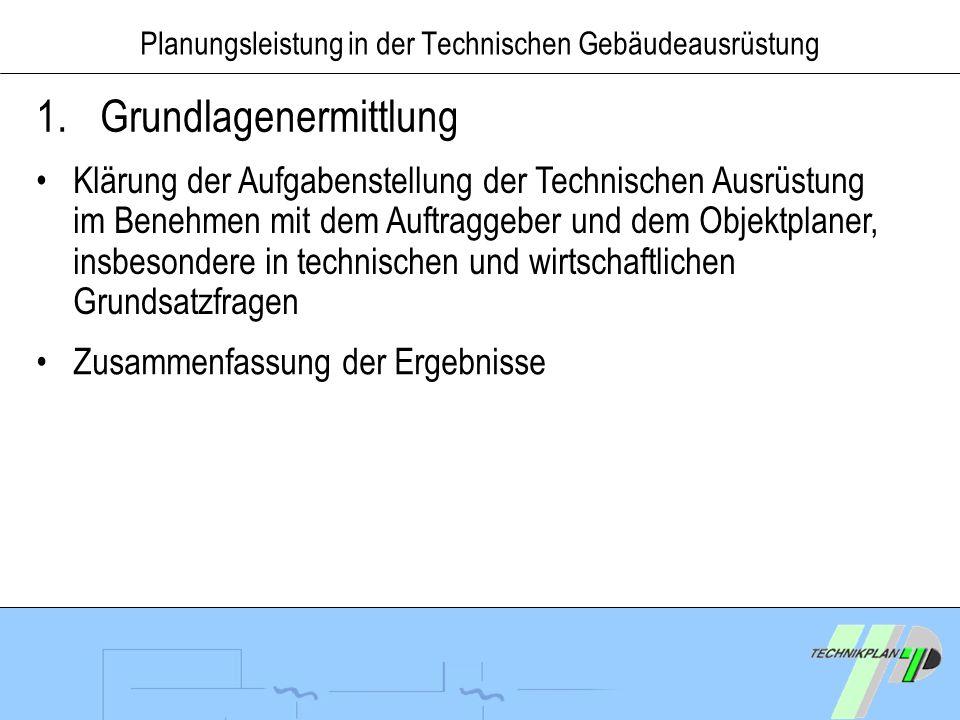 Planungsleistung in der Technischen Gebäudeausrüstung 1.Grundlagenermittlung Klärung der Aufgabenstellung der Technischen Ausrüstung im Benehmen mit d