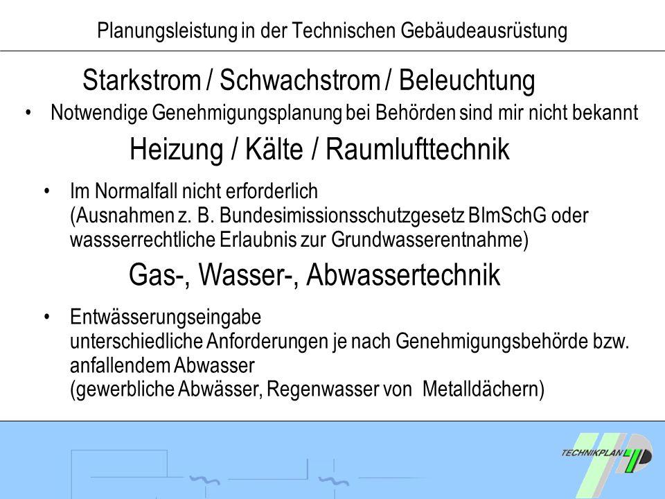 Planungsleistung in der Technischen Gebäudeausrüstung Notwendige Genehmigungsplanung bei Behörden sind mir nicht bekannt Starkstrom / Schwachstrom / B