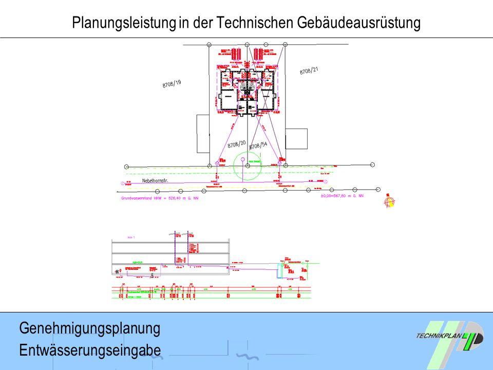 Planungsleistung in der Technischen Gebäudeausrüstung Genehmigungsplanung Entwässerungseingabe