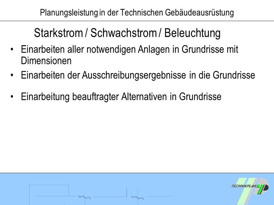 Planungsleistung in der Technischen Gebäudeausrüstung Starkstrom / Schwachstrom / Beleuchtung Einarbeiten aller notwendigen Anlagen in Grundrisse mit
