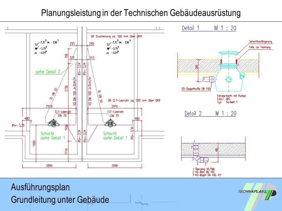 Planungsleistung in der Technischen Gebäudeausrüstung Ausführungsplan Grundleitung unter Gebäude