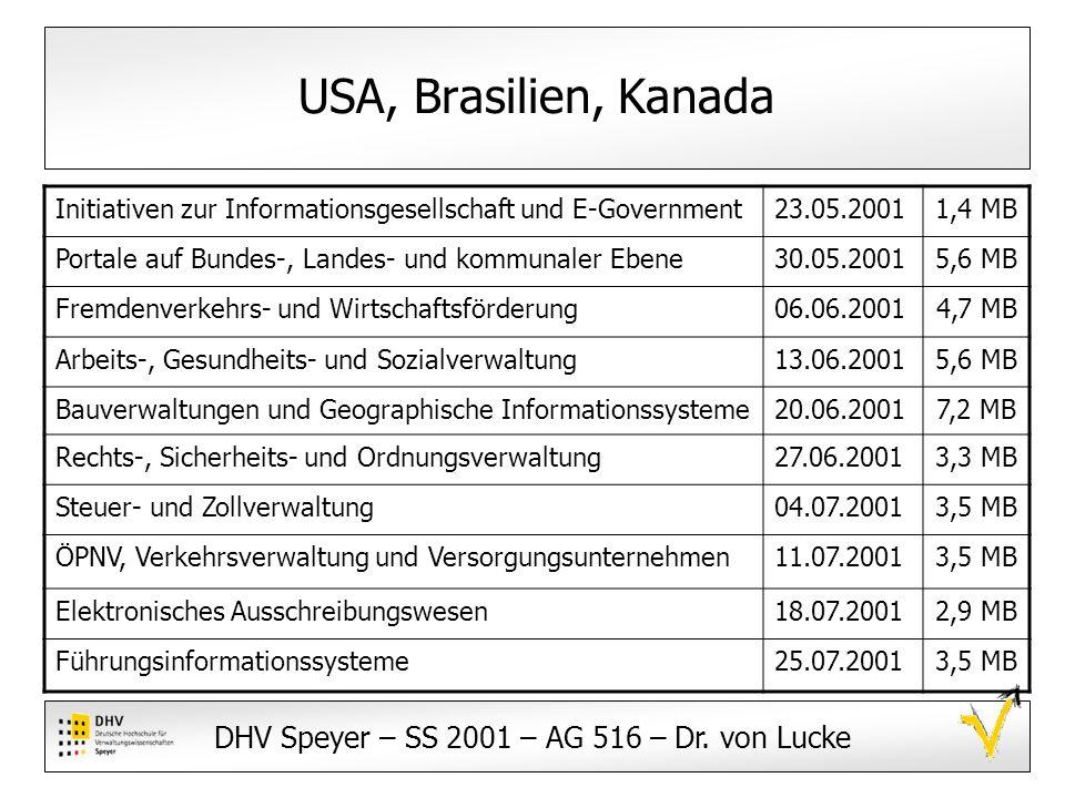 DHV Speyer – SS 2001 – AG 516 – Dr. von Lucke Ansprechpartner: Team 4 USA, Brasilien, Kanada