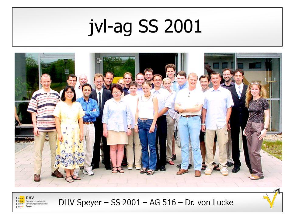 DHV Speyer – SS 2001 – AG 516 – Dr.von Lucke Impressum und Betreuung Dr.