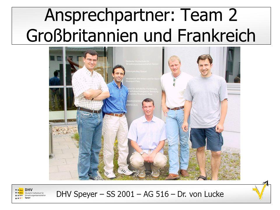 DHV Speyer – SS 2001 – AG 516 – Dr. von Lucke Ansprechpartner: Team 2 Großbritannien und Frankreich