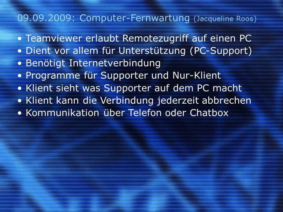 23.09.2009: Sicherheitsaspekte auf dem PC (P.