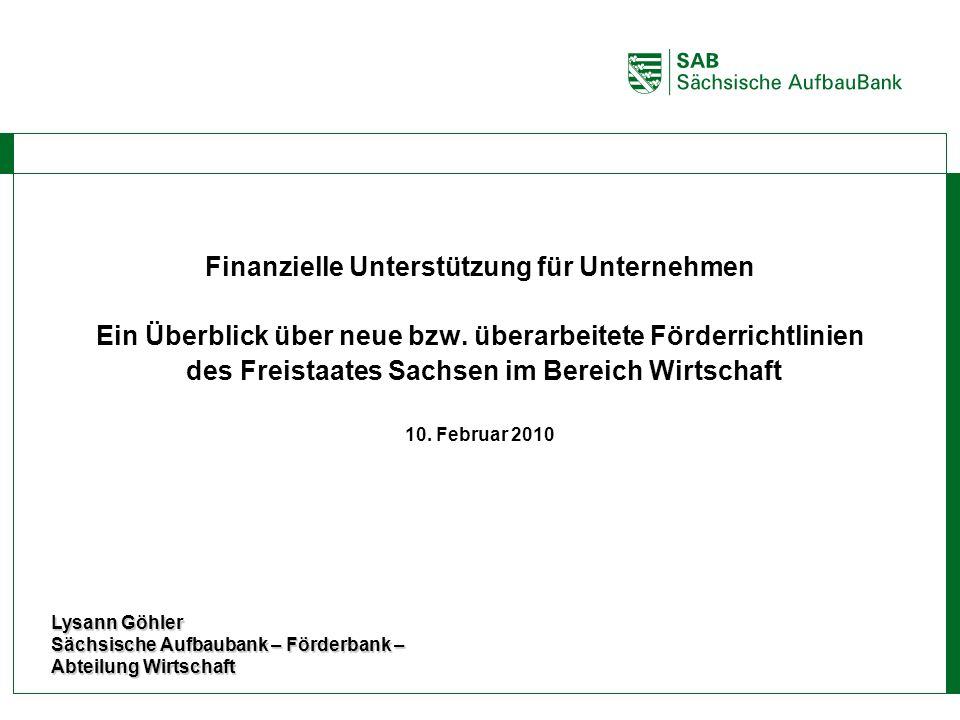 ABCE Finanzielle Unterstützung für Unternehmen Ein Überblick über neue bzw. überarbeitete Förderrichtlinien des Freistaates Sachsen im Bereich Wirtsch
