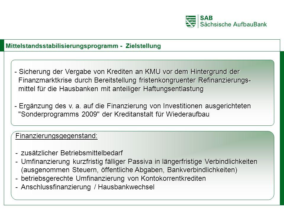 ABCE Mittelstandsstabilisierungsprogramm - Zielstellung - Sicherung der Vergabe von Krediten an KMU vor dem Hintergrund der Finanzmarktkrise durch Ber