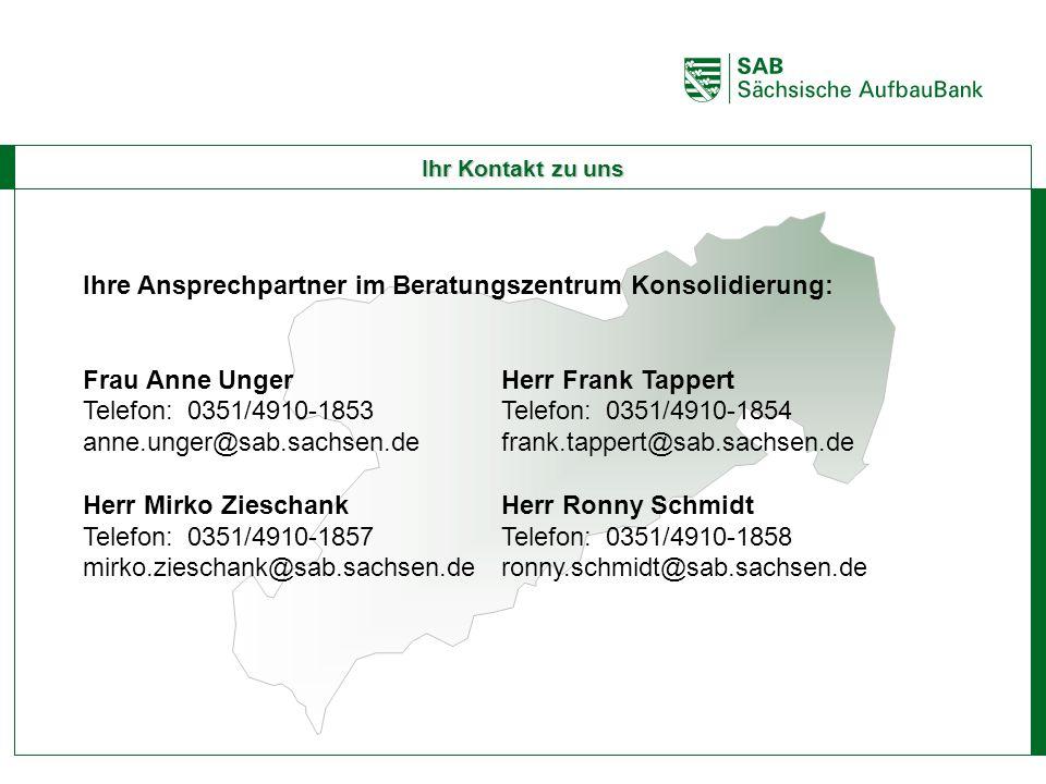 ABCE Ihr Kontakt zu uns Ihre Ansprechpartner im Beratungszentrum Konsolidierung: Frau Anne UngerHerr Frank Tappert Telefon:0351/4910-1853Telefon:0351/