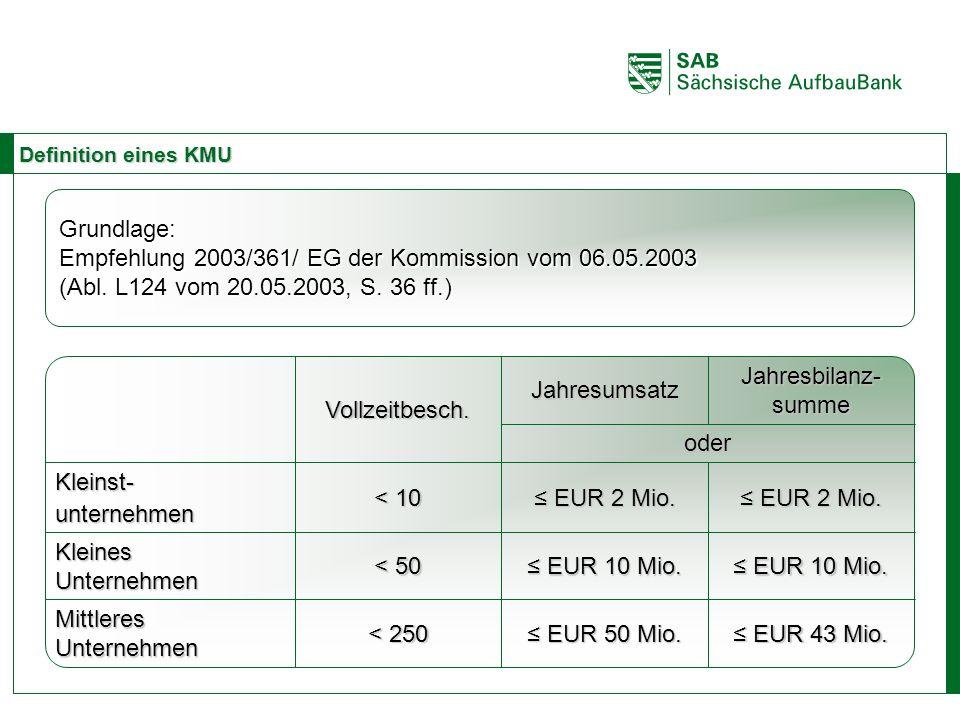 ABCE Definition eines KMU Grundlage: Empfehlung 2003/361/ EG der Kommission vom 06.05.2003 (Abl. L124 vom 20.05.2003, S. 36 ff.) Jahresbilanz- summe J