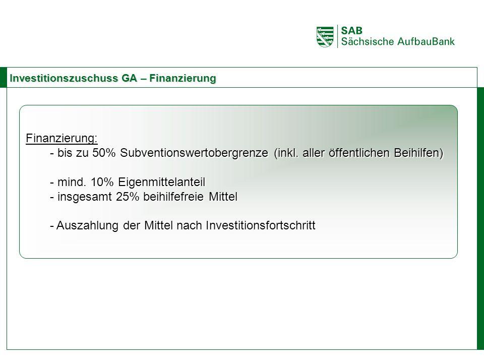 ABCE Investitionszuschuss GA – Finanzierung Finanzierung: - bis zu 50% Subventionswertobergrenze (inkl. aller öffentlichen Beihilfen) - mind. 10% Eige
