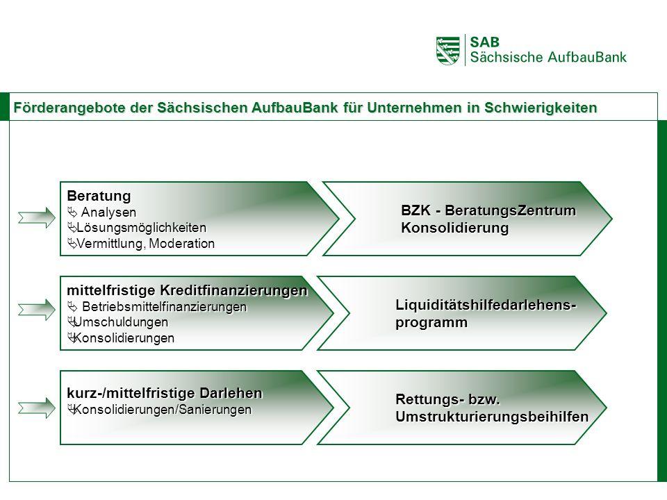 ABCE Förderangebote der Sächsischen AufbauBank für Unternehmen in Schwierigkeiten Beratung Analysen Analysen Lösungsmöglichkeiten Lösungsmöglichkeiten