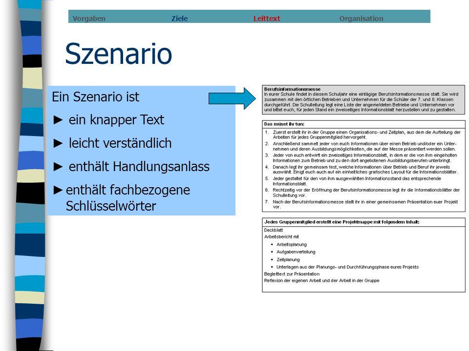 Szenario Ein Szenario ist ein knapper Text leicht verständlich enthält Handlungsanlass enthält fachbezogene Schlüsselwörter Vorgaben Ziele Leittext Or
