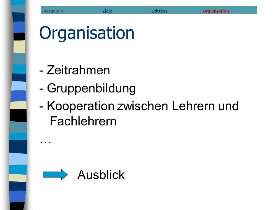 Organisation - Zeitrahmen - Gruppenbildung - Kooperation zwischen Lehrern und Fachlehrern … Ausblick Vorgaben Ziele Leittext Organisation