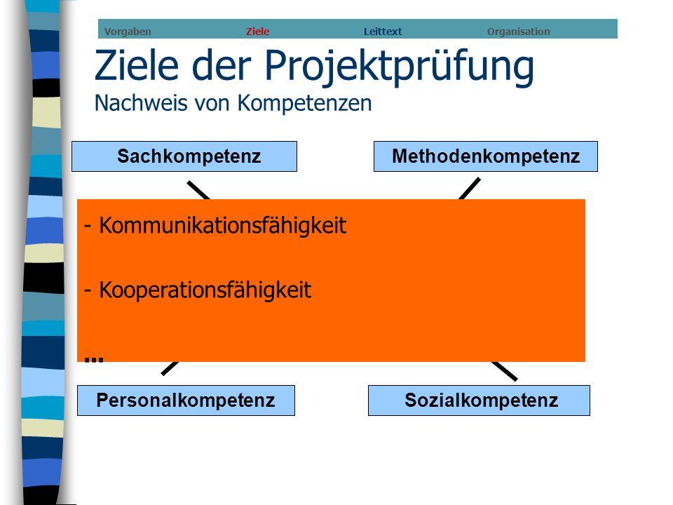 Ziele der Projektprüfung Nachweis von Kompetenzen SachkompetenzMethodenkompetenz Personalkompetenz Sozialkompetenz Nachweis von (beruflicher) Handlung