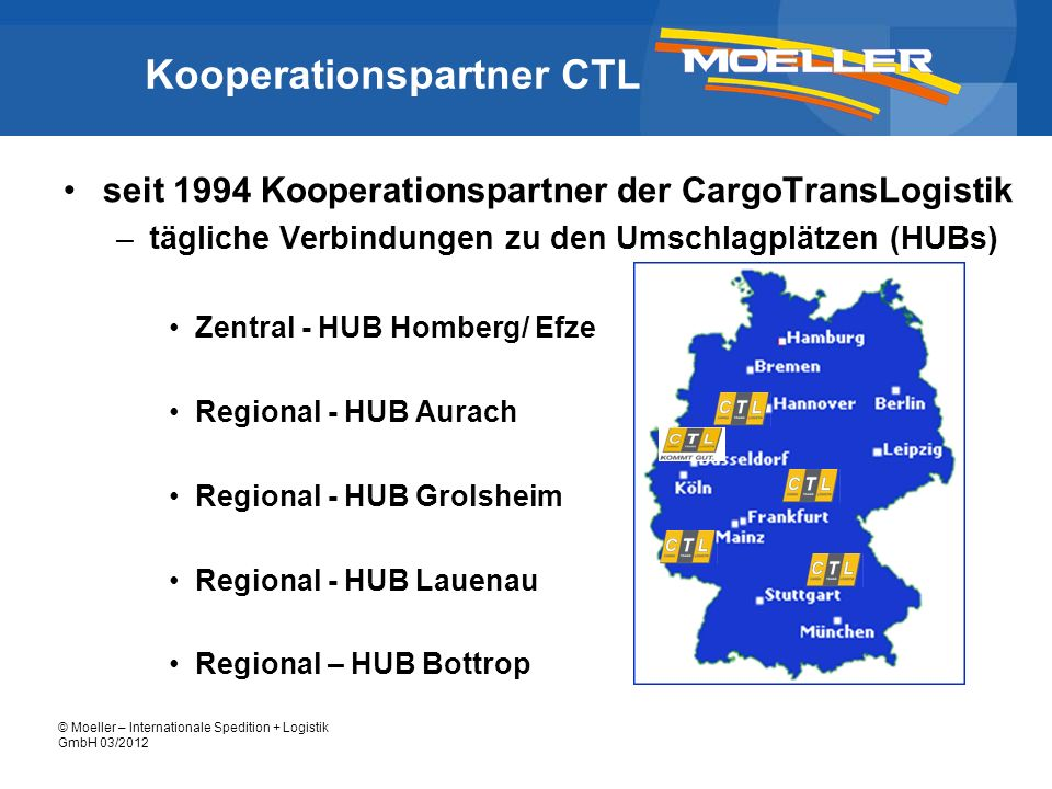 © Moeller – Internationale Spedition + Logistik GmbH 03/2012 Kooperationspartner CTL seit 1994 Kooperationspartner der CargoTransLogistik –tägliche Ve