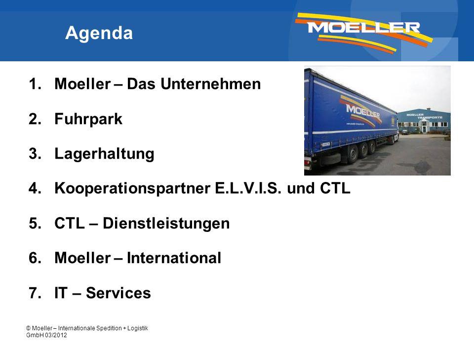 © Moeller – Internationale Spedition + Logistik GmbH 03/2012 Moeller – Das Unternehmen inhabergeführtes Familienunternehmen seit 1933 Zertifizierung nach ISO 9001 Firmenzentrale: Düren Niederlassungen/ Büros: Berlin Köln Pfungstadt