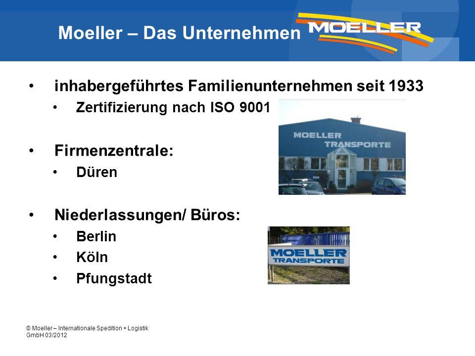 © Moeller – Internationale Spedition + Logistik GmbH 03/2012 Moeller – Das Unternehmen inhabergeführtes Familienunternehmen seit 1933 Zertifizierung n