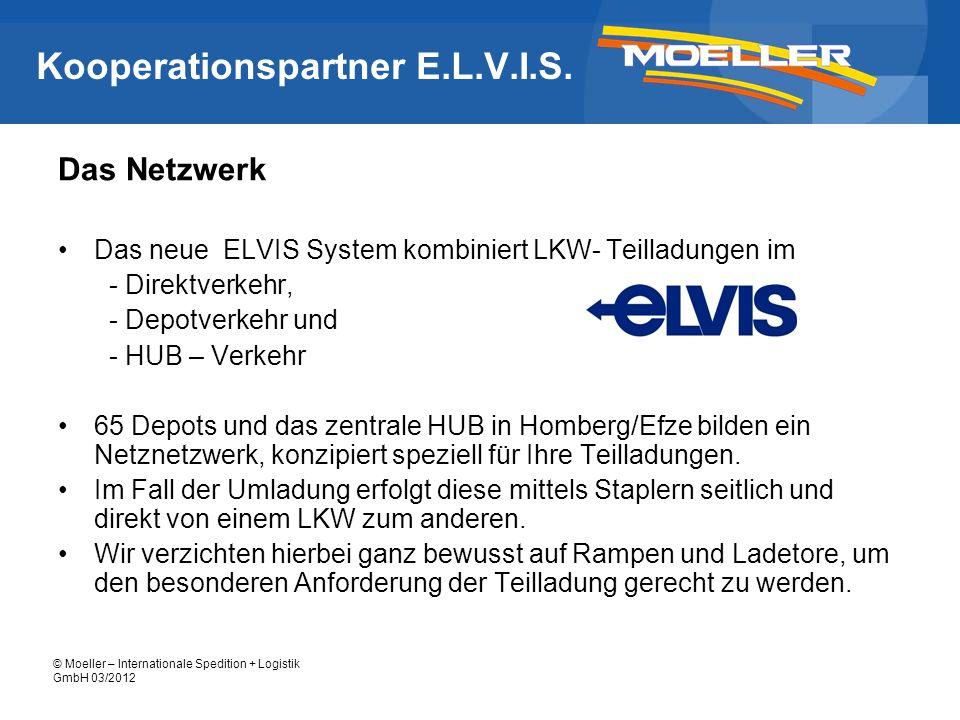 © Moeller – Internationale Spedition + Logistik GmbH 03/2012 Kooperationspartner E.L.V.I.S. Das Netzwerk Das neue ELVIS System kombiniert LKW- Teillad