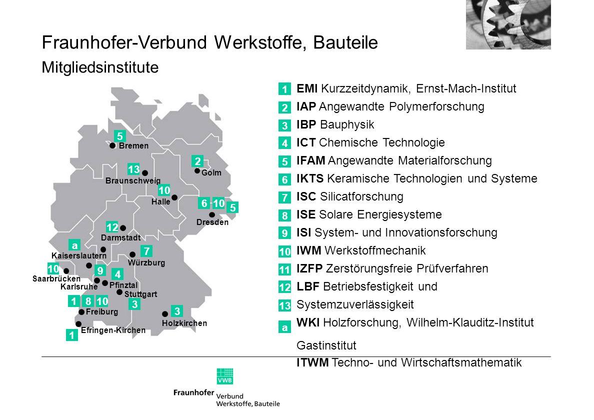 Fraunhofer-Verbund Werkstoffe, Bauteile Mitgliedsinstitute 1 EMI Kurzzeitdynamik, Ernst-Mach-Institut IAP Angewandte Polymerforschung IBP Bauphysik IC