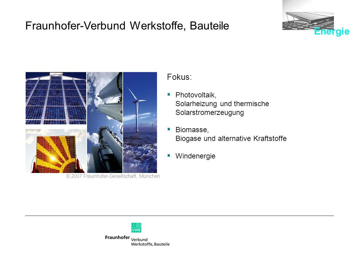 Fokus: Photovoltaik, Solarheizung und thermische Solarstromerzeugung Biomasse, Biogase und alternative Kraftstoffe Windenergie © 2007 Fraunhofer-Gesel