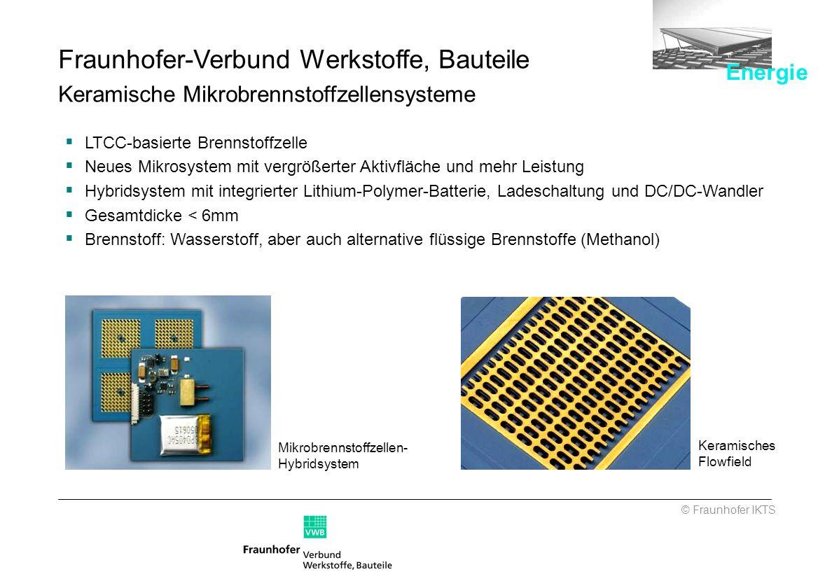 Mikrobrennstoffzellen- Hybridsystem Keramisches Flowfield © Fraunhofer IKTS Fraunhofer-Verbund Werkstoffe, Bauteile Keramische Mikrobrennstoffzellensy