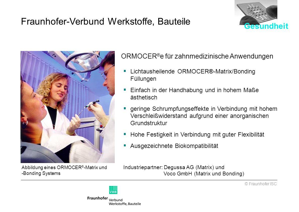 Abbildung eines ORMOCER ® -Matrix und -Bonding Systems ORMOCER ® e für zahnmedizinische Anwendungen Lichtausheilende ORMOCER®-Matrix/Bonding Füllungen