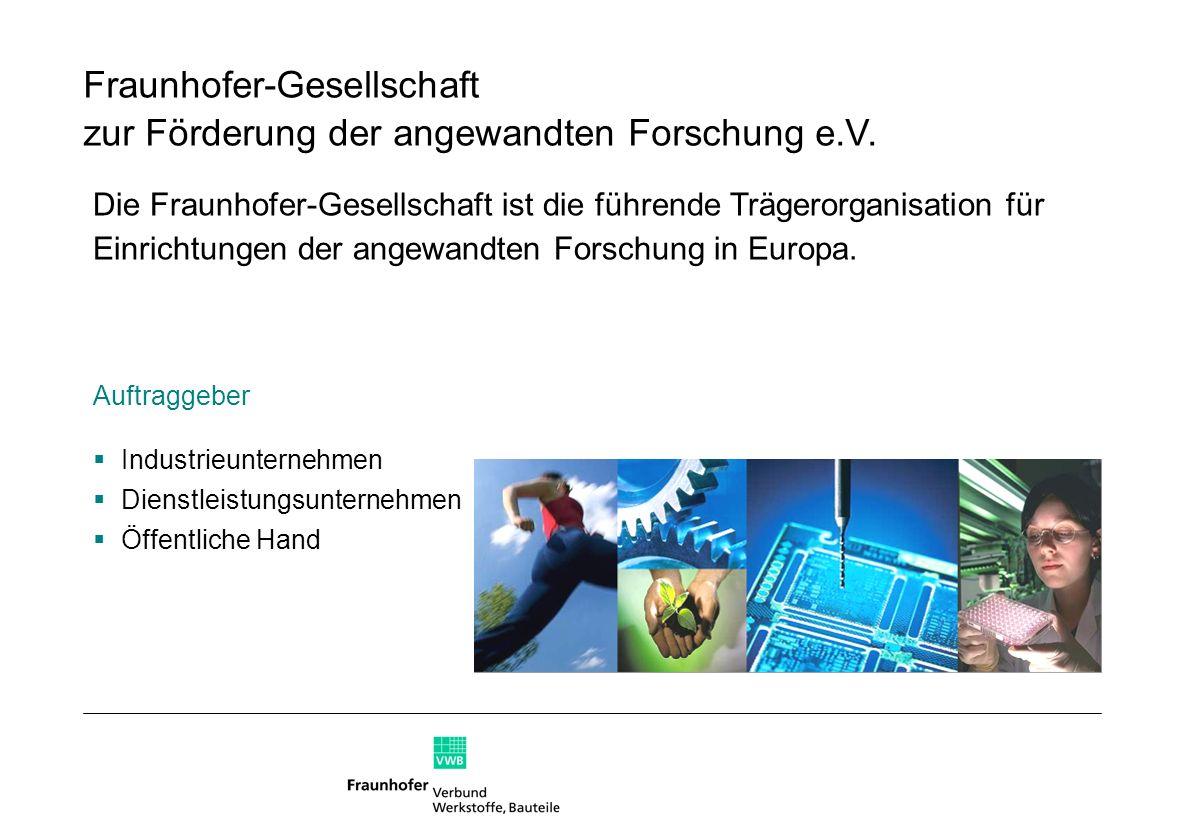 Die Fraunhofer-Gesellschaft ist die führende Trägerorganisation für Einrichtungen der angewandten Forschung in Europa. Fraunhofer-Gesellschaft zur För